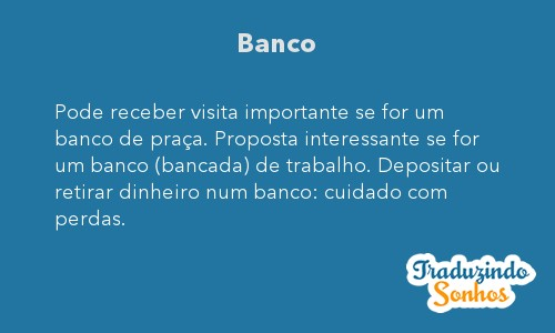 Significado do sonho Banco