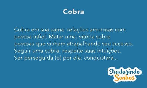 Significado do sonho Cobra