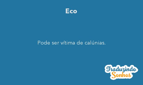 Significado do sonho Eco