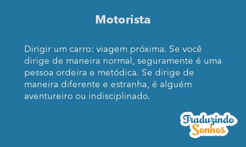 Significado do sonho Motorista