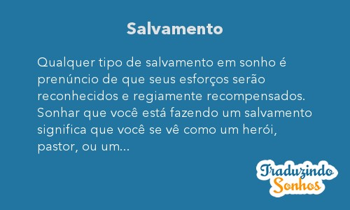 Significado do sonho Salvamento
